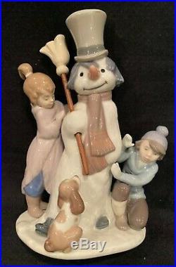 Lladro Porcelain THE SNOWMAN w Boy & Girl & Dog! Mint in Box No 5713