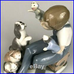 Lladro Puppet Show Boy Dog Cat Mint with Box Fine Porcelain Figurine Retired 1990