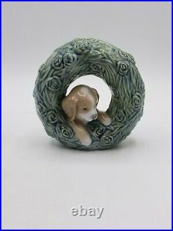 Lladro Puppy Natural Frames with Box 8071 Dog Wreath Figurine