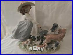Lladro Puppy Parade #06784 Girl walking dogs & puppies Used Exc. Cond. Withbox