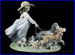 Lladro Puppy Parade Girl With Dog Figurine #6784 Bnib Flower Large Save$$ F/sh