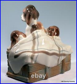 Lladro Pups In The Box #1121 Mother Dog & Three Puppies $850 Large, Mint