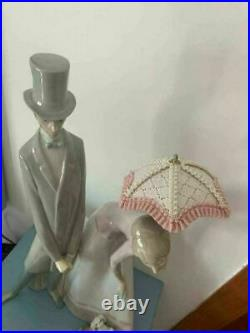 Lladro Rare Retired Tall Glossy GROUP PARASOL Gentleman Lady dog Puppy 01004563