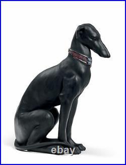 Lladro Retired 01008606 Pensive Greyhound Dog Figurine. Black. 8606 Brand New