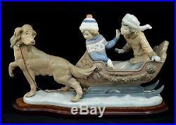 Lladro Retired Figurine # 5037 Sleigh Children Dog Excellent