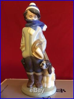 Lladro Retired Figurine #5220 Winter Boy With Puppy Dog