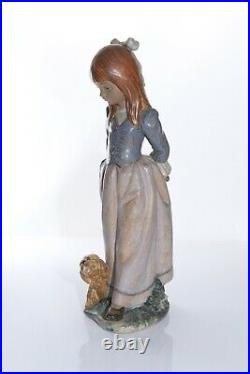 Lladro Rosita Girl With Puppy Dog Gres Finish 2085 14 inches