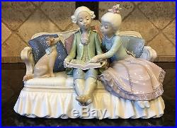 Lladro STORY TIME #5229, Boy and Girl on Couch with Dog, RARE Mint