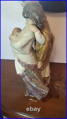 Lladro/Sculpture/Facing The Wind/Boy And Girl With Dog/Figurine/Gifts/Statue