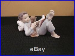 Lladro Shall I Read You a Story Little Boy and Dog New in Original Box 08034