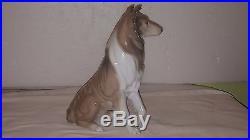 Lladro Sitting Collie Dog Porcelain Gloss Figurine Retired 1997-00 #6455