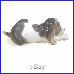 Lladro Sleeping Beagle Dog Puppy Porcelain Figurine Signed Spain
