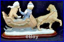 Lladro Sleigh Ride Brand New Display Model 5037 Rare Retired Dog Kids Sled