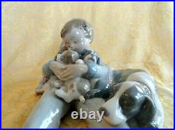 Lladro Spain Figurine #1535 Sweet Dreams Boy With Dog And Puppies