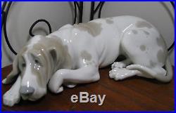 Lladro Spain Porcelain Basset Hound Dog Statue Figurine
