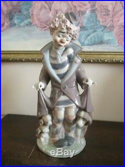 Lladro Spain Porcelain Figurine 5901 Surprise Clown With Dog & Puppies Mint