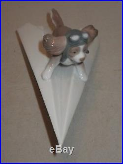 Lladro Spain Porcelain Figurine Let's Fly Away 6665 Box Puppy Dog Paper Airplane