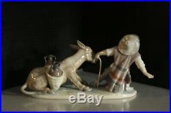 Lladro Stubborn Donkey Figurine 5178 Boy With Dog Pulling Donkey Mint