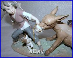 Lladro Stubborn Donkey Figurine 5178 Boy With Dog Pulling Donkey Mint In Box