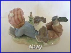 Lladro Study Buddies 5451 Boy Puppy Dog Bird Figurine MINT