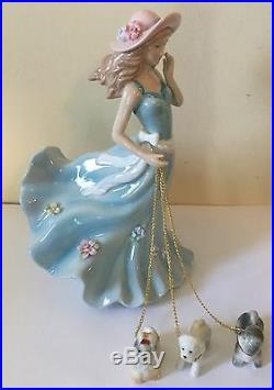 Lladro Style Like Girl Walking Dogs Absolutely Beautiful And Stunning