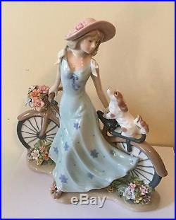 Lladro Style like Girl with Bicycle, Dog, & Flowers Exquisite And Stunning
