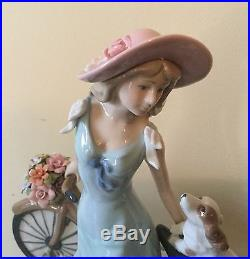 Lladro Style like Girl with Bicycle, Dog, & Flowers Exquisite Rare Stunning