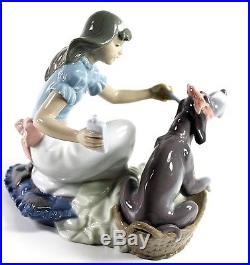 Lladro Take Your Medicine Porcelain Figurine Girl with Dog #5921