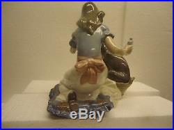 Lladro Take Your Medicine girl and dog #5921, 7 x 7 1/2 mint
