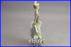 Lladro Tall Figurine LLADRO LADY WITH PEKINESE DOG & UMBRELLA #4761 Retired Mint