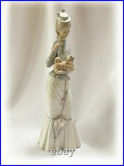 Lladro Tall Woman Figurine w Parasol Umbrella Pekinese Dog Walk w the Dog #4893