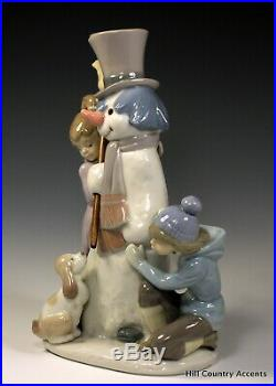Lladro The Snow Man # 5713 Children With Snowman And Dog $500 Value Mib