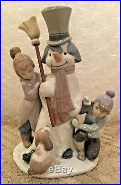 Lladro The Snowman 5713 with boy and girl and dog, Retired, Ex Condition