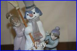 Lladro The Snowman 5713 with girl and boy and dog, Retired, no box