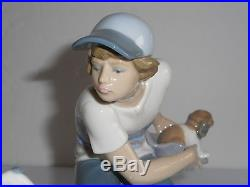 Lladro This One's Mine Boy with Dogs Puppies Glazed Porcelain Figurine 5376