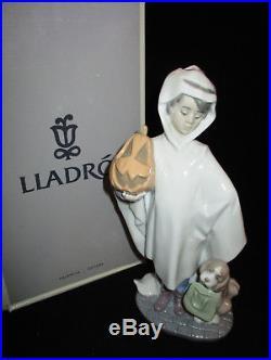 Lladro Trick or Treat, Boy with Pumpkin & Dog, #6227