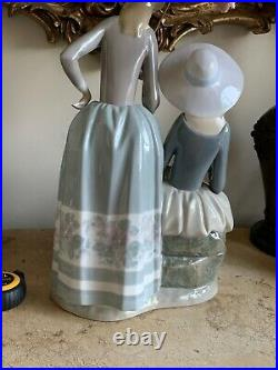 Lladro Two Young Women And A Dog