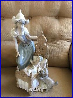 Lladro Woman By Child In Crib With Dog Collectible Figurine