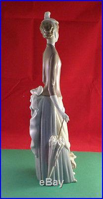 Lladro Woman, Dog and Umbrella 1978