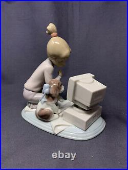 Lladro figure, Dog, Puppy, Girl on Computer'Computing Companions' No. 6692, Boxed