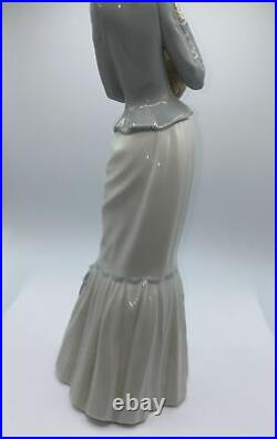 Lladro figurine tall Woman Walking with Dog holding small dog & umbrella 4893