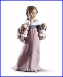 Lladro girl hat dogs 01006419 ARMS FULL OF LOVE 6419 in original Box