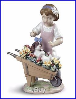 Lladro girl with dog 01009133 LET'S GO FOR A RIDE 9133 Brand New in Box