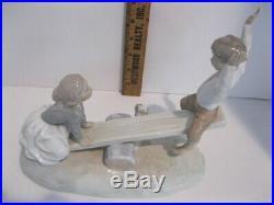 Lladro (nao) Figurine # 4867 Girl & Boy On See Saw With Dog