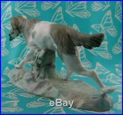 Lladro or # 308.13 HUNTING DOG WithQUAIL MINT