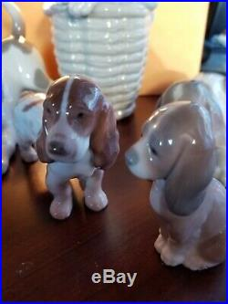 Lladro retired figurines Spanish Porcelain Dogs 4 PeicesAnd 1 B&G denmark dog