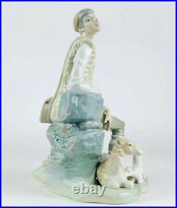 Lladro -shepherd Resting- Large Figure 4571 Seated Boy Man Dog Puppy Sheep Lamb