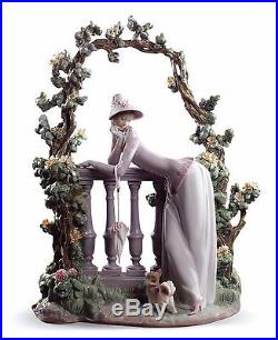 Lladro woman with flowers hat dog 01008680 IN THE BALUSTRADE 8680 NEW in BOX