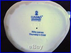 LladroThursday's Child Figurine Glazed 6234G Mint Rare Retired 1998 Boy Dog
