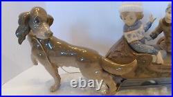 Llardo Porcelain Collectible Figurine 5037 Sleigh Ride Couple w Dog LARGE 19